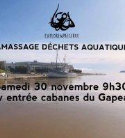 Ramassage de déchets aquatiques - Cabanes du Gapeau