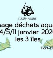 ramassage déchets aquatiques les 3 îles ( Porquerolles - Port-Cros - Le Levant )
