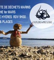 collecte déchets  marins digues du port de Hyères & plages