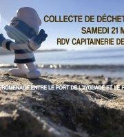 collecte de déchets marins promenade du bord de mer entre l'Ayguade & le Port de Hyères